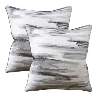 Barbara Barry for Kravet Couture Linen Down Feather Accent Pillows - Set of 2 For Sale