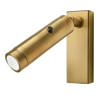 Brushed Brass Led Focus Wall Reading Light With Rectangular Backplate For Sale