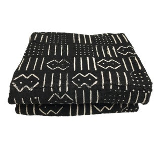 """African Mali Black and White Mud Cloth Textile 60"""" by 40"""" For Sale"""