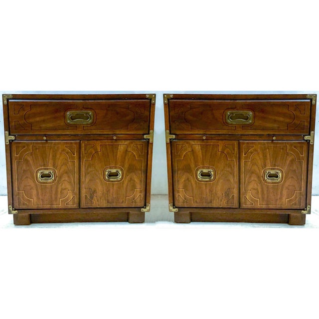 1970s Pair of Drexel Campaign Style Side Tables For Sale - Image 5 of 6