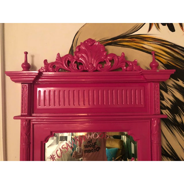 Boho Chic Hot Pink Lacquered Hand-Carved Solid Mahogany Floor Mirror For Sale - Image 3 of 9
