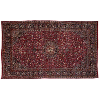 Vintage Persian Mashhad Palace Rug- 9′6″ × 15′8″ For Sale