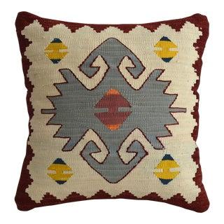 Turkish Hand Woven Silk Pillow Cover. Throw Pillow Sham - 15″ X 15″ For Sale