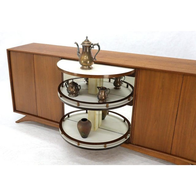 Mid 20th Century Swivel Centre Bar Walnut Mid-Century Modern Credenza Sideboard Sculptural Legs For Sale - Image 5 of 13
