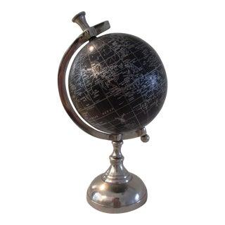 Modern Black & Silver Decorative World Globe For Sale