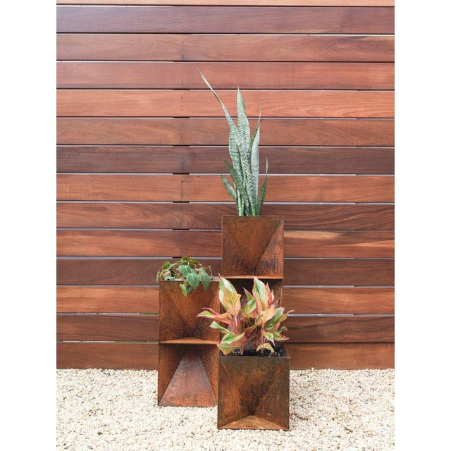 Trey Jones Studio Weathering Steel Origami Planter For Sale - Image 9 of 12