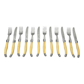 Laguiole Flying Colors Yellow Forks & Knives, S/12 For Sale