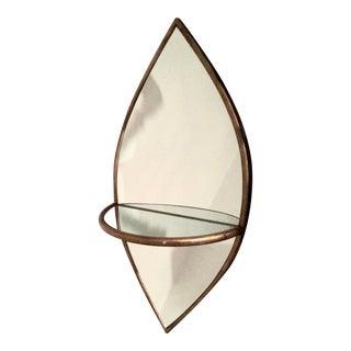 1990s Moorish Brass Mirror With Shelf For Sale