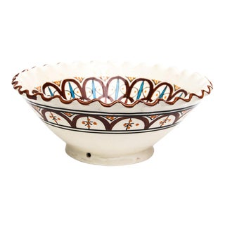 Moroccan Hand Painted Brown Ceramic Bowl For Sale