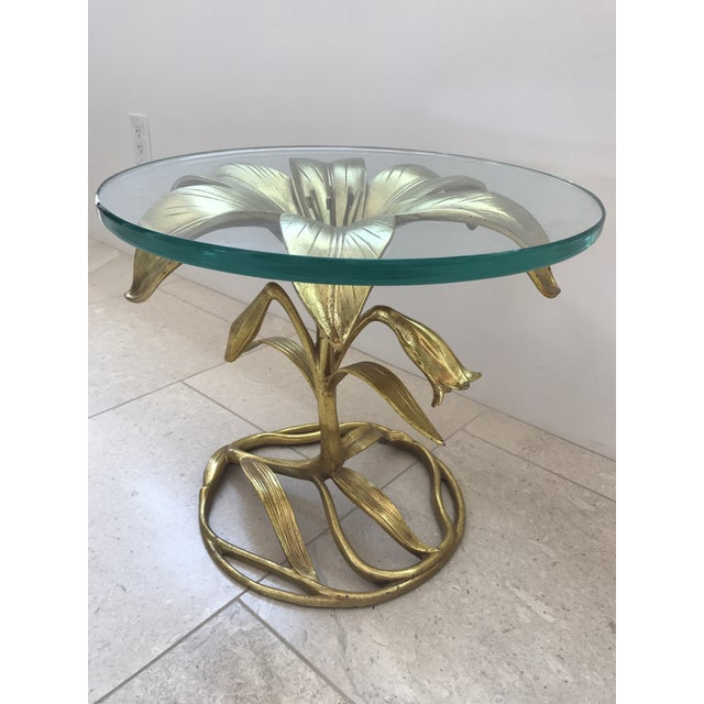 Arthur Court Gilded Lily Table With Glass Top - Image 3 of 10