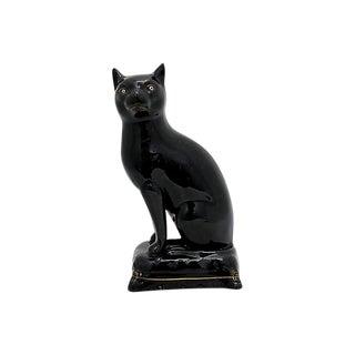 Antique Art Deco Staffordshire Black Cat For Sale