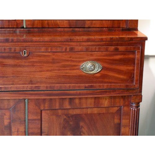 Brown English William IV Mahogany Secretary Bookcase For Sale - Image 8 of 11