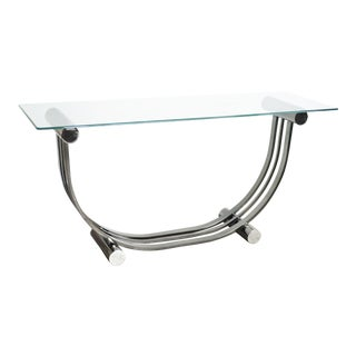 Art Deco Romeo Rega Style Smoked Chrome Console Table For Sale
