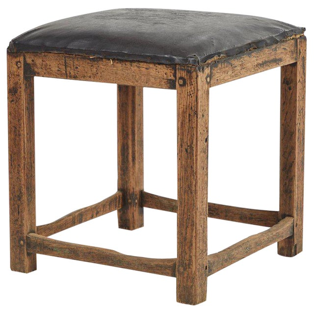 Rustic Low Stool With Black Upholstered Top For Sale