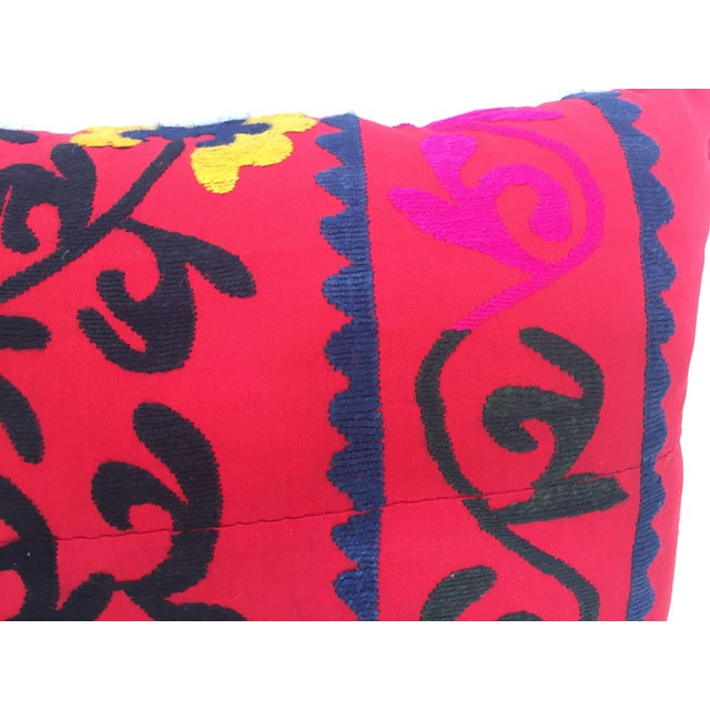 Large Vintage Colorful Suzani Embroidery Throw Pillow From Uzbekistan For Sale - Image 4 of 10