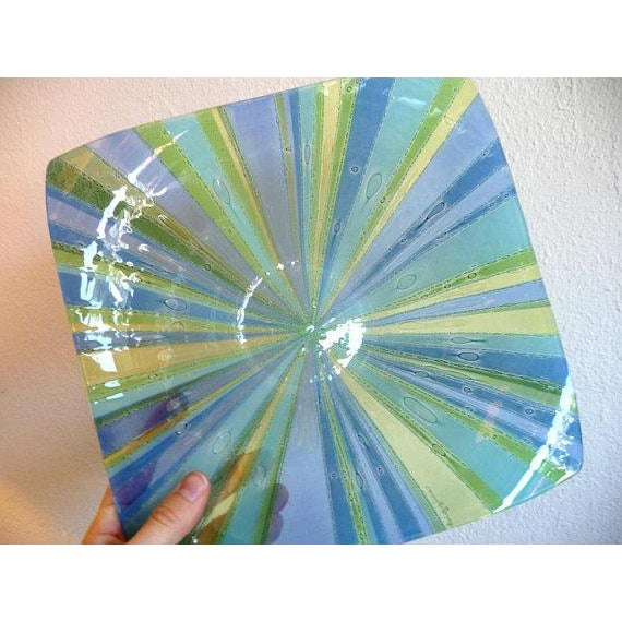 Blue Higgins Fused Glass Tray & Bowl - A Pair For Sale - Image 8 of 11