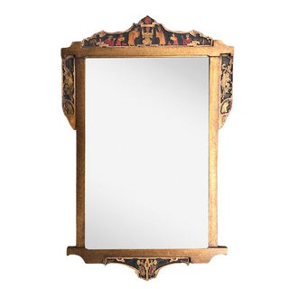 Gold Hand Carved Gilt Wood Italian Chinoiserie Japanese Figural Relief Mantel Rectangle Mirror For Sale