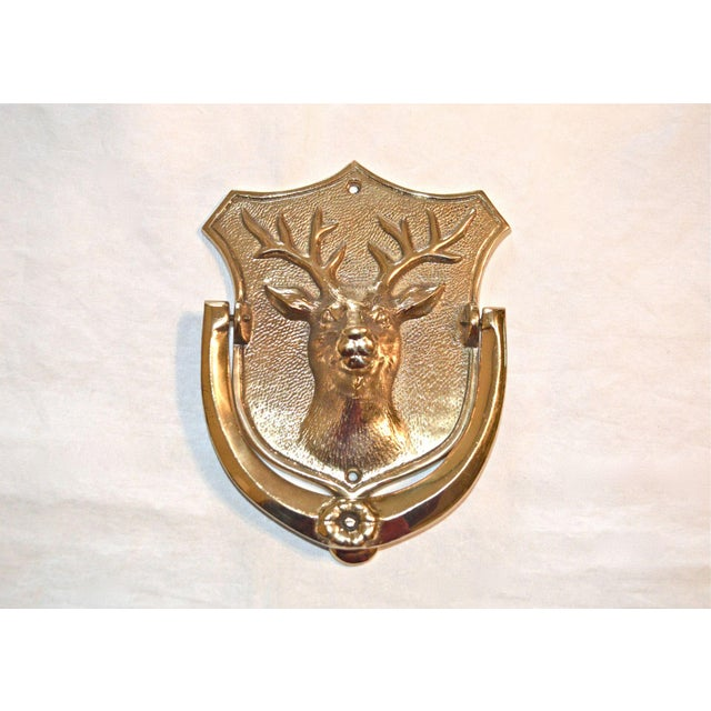 Gold Stag Brass Door Knocker For Sale - Image 8 of 10