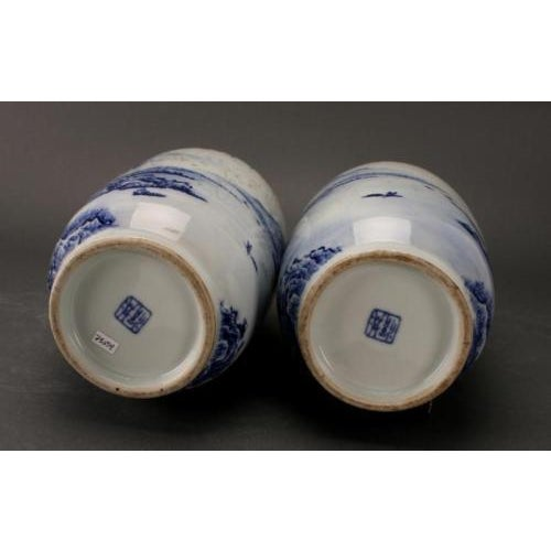 Chinese Blue & White Rousseau Vases - A Pair For Sale - Image 11 of 11
