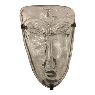 1960s Erik Höglund for Kosta Boda Art Glass Face Mask Wall Hanging For Sale