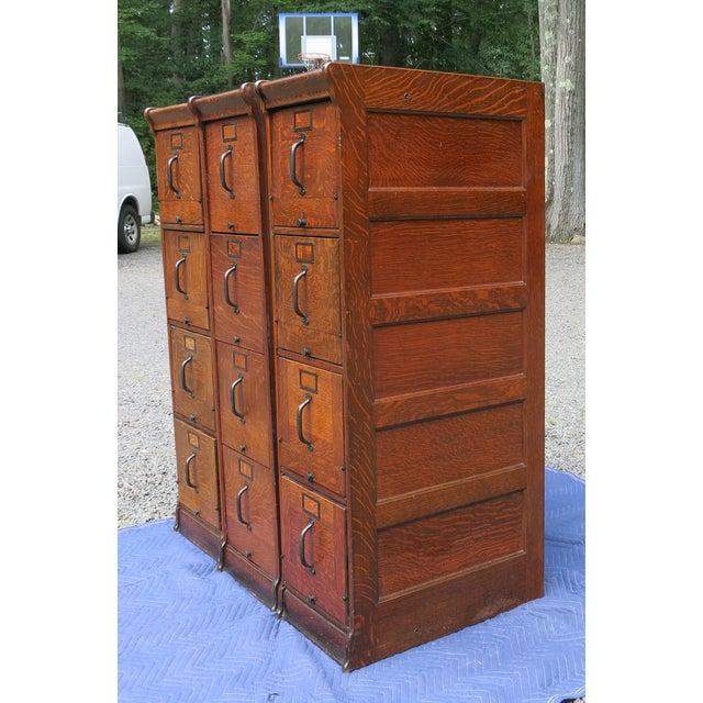 Globe Wernicke Antique Globe Oak File Cabinets - Set of 3 For Sale - Image 4 of 13
