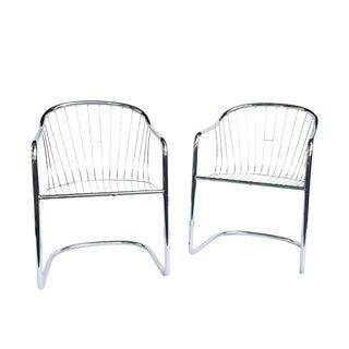 Vintage Italian Tubular Chrome Cantilever Chairs - a Pair For Sale