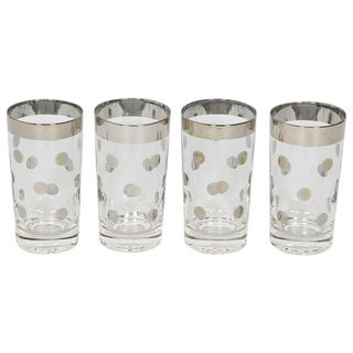 1960s Set of Four Dorothy Thorpe Barware Glasses With Polka Dot Design For Sale