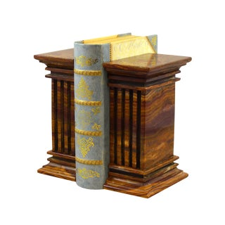 Brown Marble Bookends - a Pair