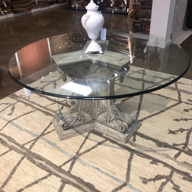 Italian Hand Carved 3 Sided Pedestal Dining Center Table Chairish