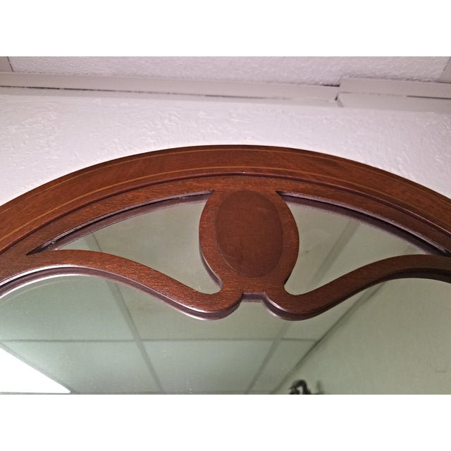 Wood Line Inlaid Arched Neoclassical Mahogany Wall Mirror For Sale - Image 7 of 8