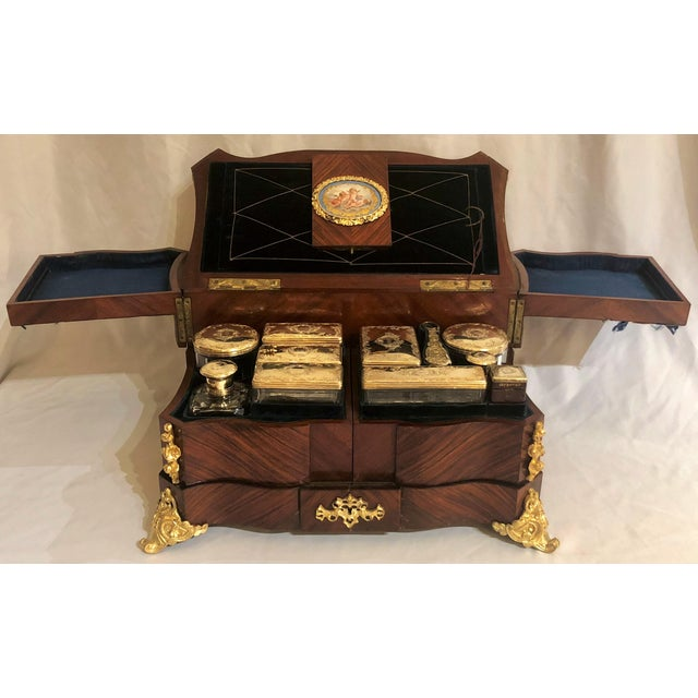 Museum Quality Antique French Napoleon III Sevres Mounted Kingswood and Ormolu Traveling Box Made by Ebeniste, Alphonse Giroux. For Sale - Image 4 of 8