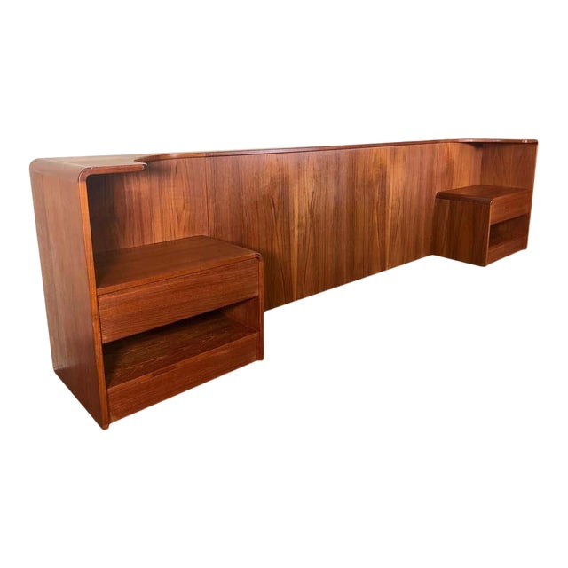 Midcentury Danish Teak Queen Size Headboard With Nightstands For Sale