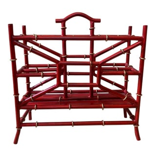 Maison Bagues Style Metal Bamboo Motif Magazine Rack For Sale