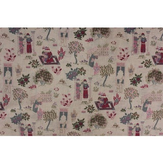 Vintage French Chinoiserie Light Weight Cotton Purple Blue Pink Fabric For Sale