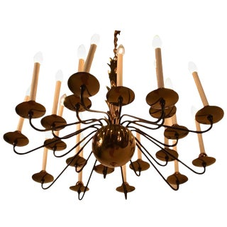 20-Light Ball Base Brass and Black Chandelier Attributed to Lightolier For Sale