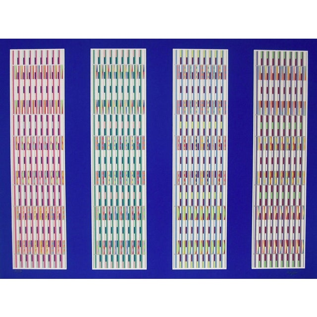 Artist: Yaakov Agam (1928) Title: Five Visual Orchestrations Year: 1990 Medium: Silkscreen on Arches paper Edition: 72,...