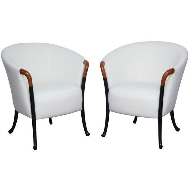 Pair of Curved Back Armchair With Beech Wood Legs For Sale In New York - Image 6 of 8