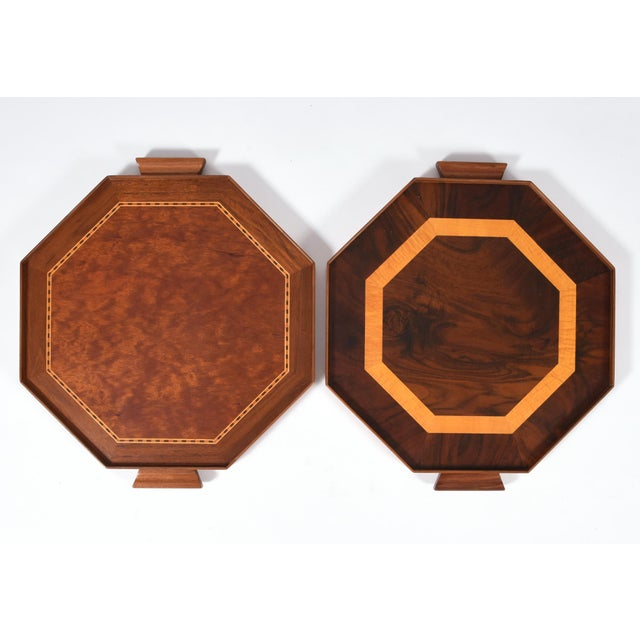 Mid-Century Modern Burlwood Barware or Serving Trays - a Pair For Sale - Image 11 of 11