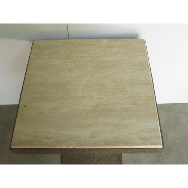 Contemporary Travertine Bronze Base Side Table For Sale - Image 3 of 5