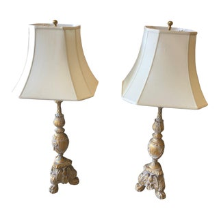 Vintage Frederick Cooper Rococo Style Lamps With Shades - a Pair For Sale