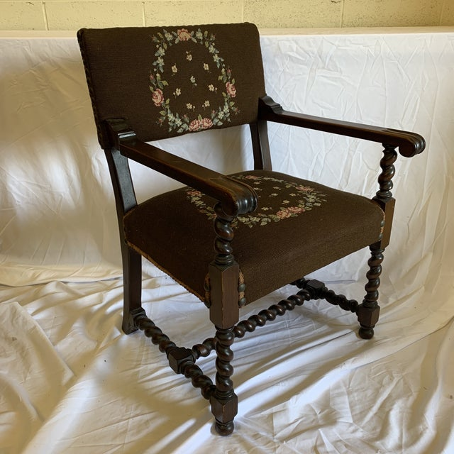 Jacobean Burgundian Style Barley Twist Chair For Sale - Image 12 of 12