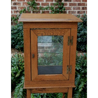 1920's Antique English Oak Curio Display Cabinet Preview