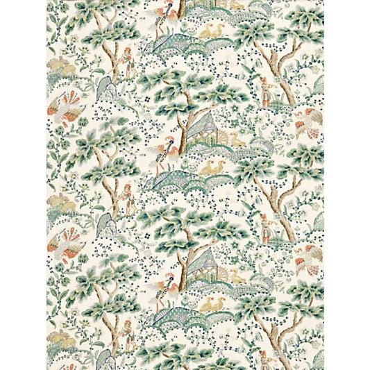 Traditional Scalamandre Kelmescott Hand Block Print Fabric, Leaf on Ivory For Sale - Image 3 of 3