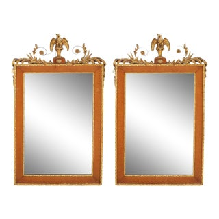 Late 19th Century Burlwood Framed / Top Details Hanging Wall Mirror - a Pair For Sale