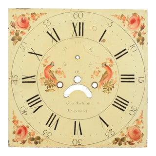 19th-C. Welsh Hand-Painted Clock Face For Sale