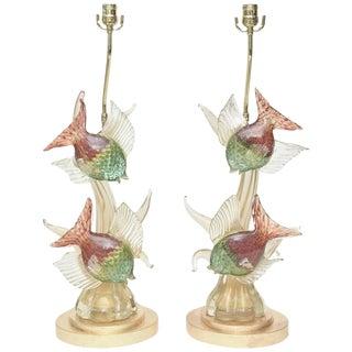 Pair of Rare Italian Murano Barovier e Toso Glass Lamps For Sale