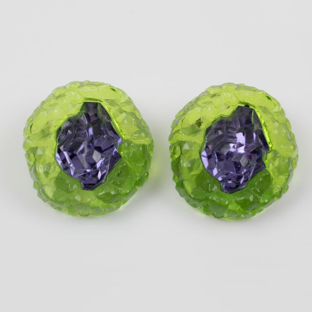 Italian Oversized Italian Luminous Green and Purple Rock Lucite Clip on Earrings For Sale - Image 3 of 6