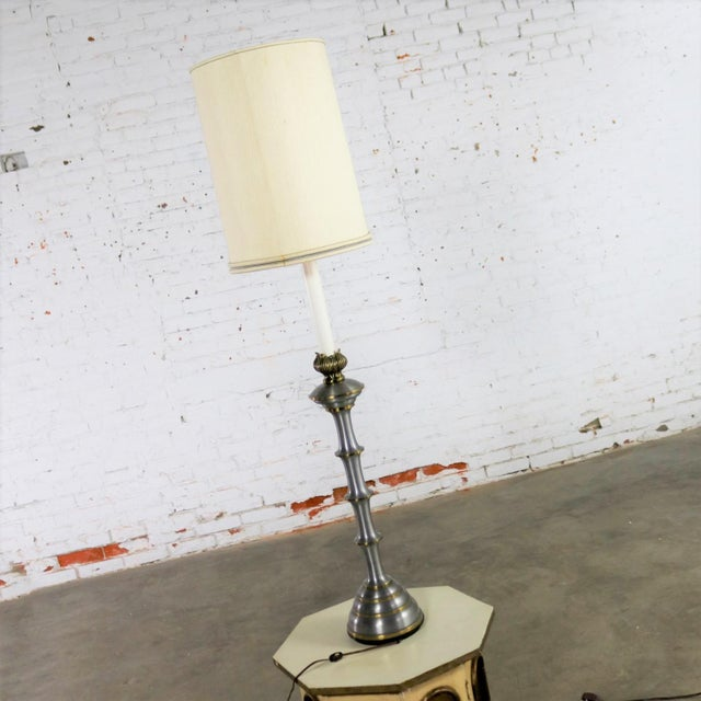 Hollywood Regency Stiffel Tall Table Lamp or Low Floor Lamp Mid Century Brass and Brushed Stainless Steel For Sale - Image 3 of 13