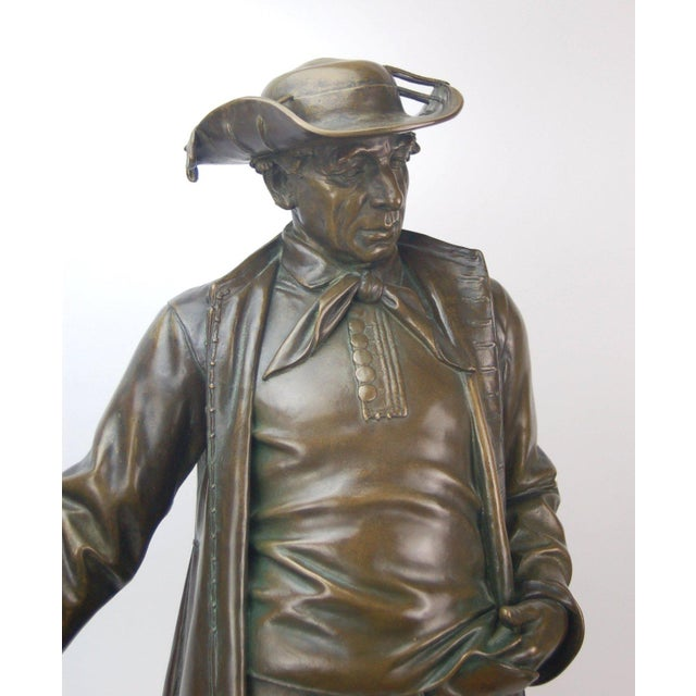 Late 19th Century 1887 Austrian Bronze Genre Statue of Man in Duster Coat W Cane and Bush Hat For Sale - Image 5 of 7
