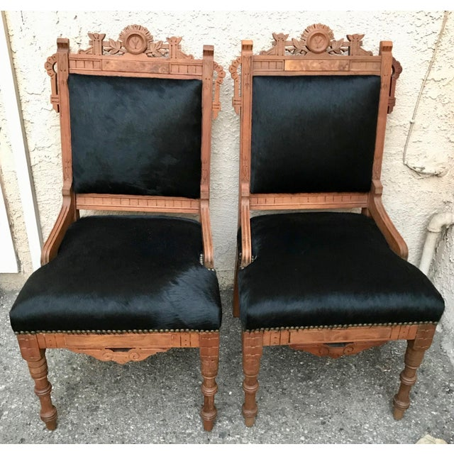 Antique Throne Chairs Reupholstered With Black Hair on Hide - a Pair For Sale - Image 11 of 11